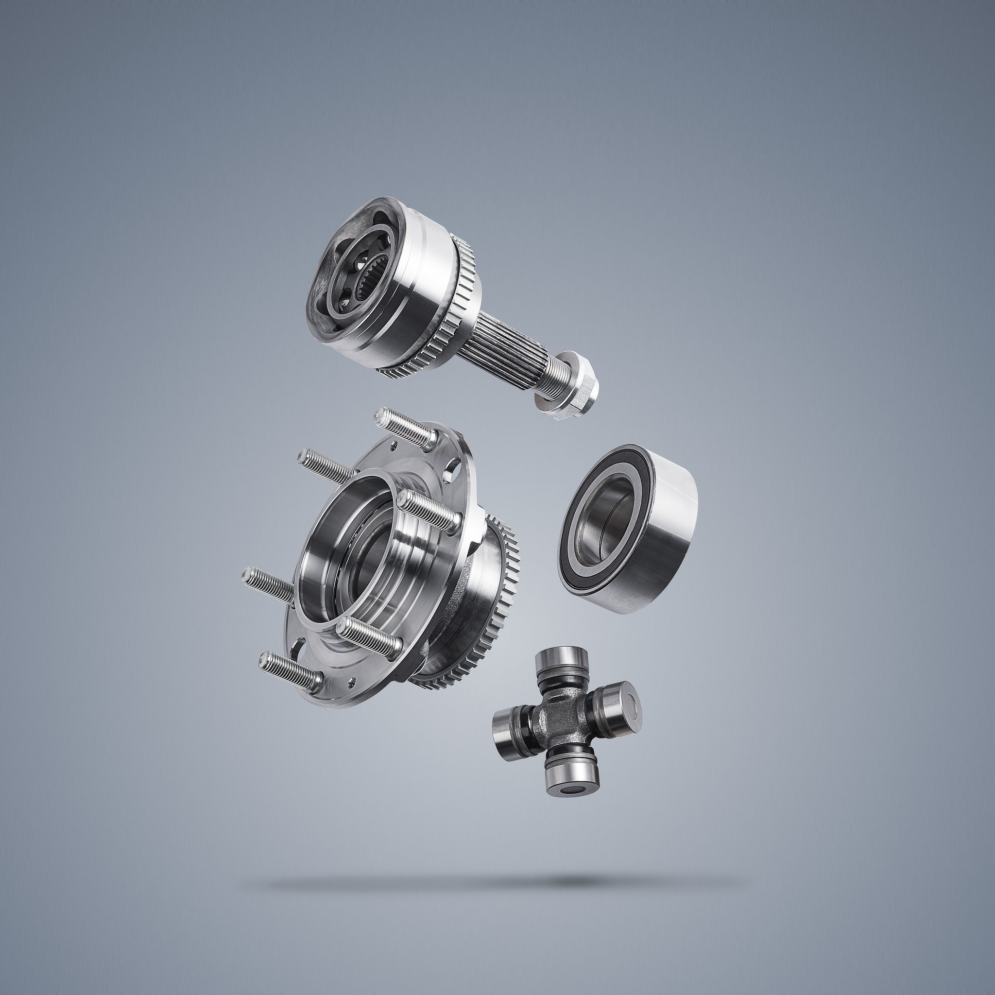 Advertising photography of several car parts